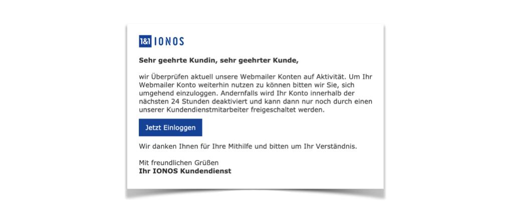 2020-02-18 1und1 IONOS Spam-Mail Fake Deaktivierung Ihres Webmail Kontos