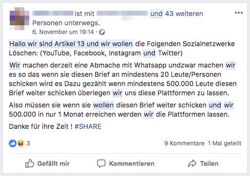 Kettenbrief WhatsApp Facebook Artikel 13