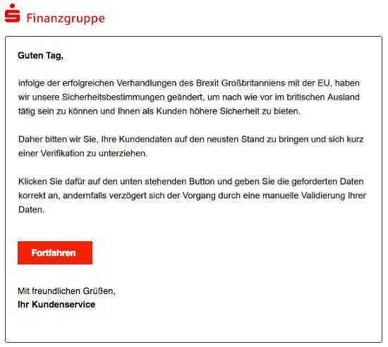 2018-12-02 Sparkasse Spam-Mail Datenabgleich erforderlich