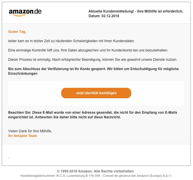2018-12-03 Amazon Spam Amazon-Team Kundenmittelung - Ihre Mithilife ist forderlich