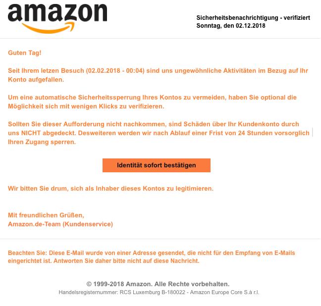 2018-12-03 Amazon Spam Mail Amazon - Sicherheitsbenachrichtigung