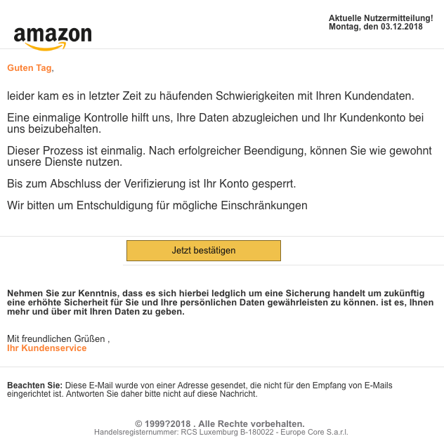 2018-12-04 Amazon Phishing-Mail Moegliche Konto Sperrung Amazon-de