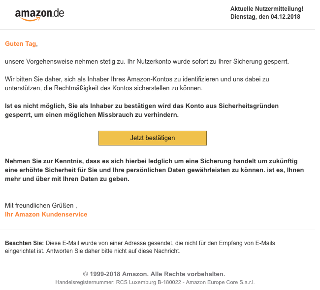 2018-12-04 Amazon Spam-Mail Legitimieren Sie ihr Amazon-Konto