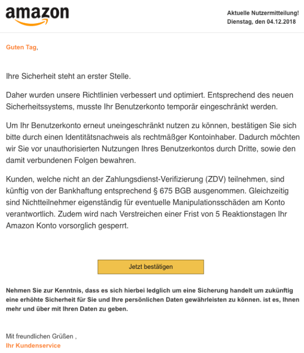2018-12-05 Amazon Spam-Mail Mögliche Konto Sperrung Amazon.de