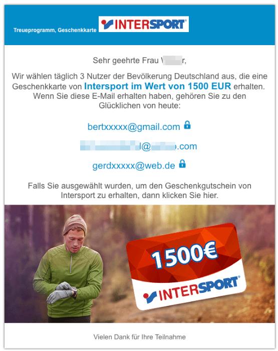 2018-12-05 InterSport Geschenkkarte 1500 Euro E-Mail Spam
