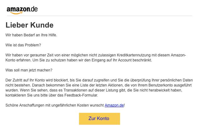 2018-12-06 Amazon Spam Mail UG86951599 zu Kreditkartennutzung