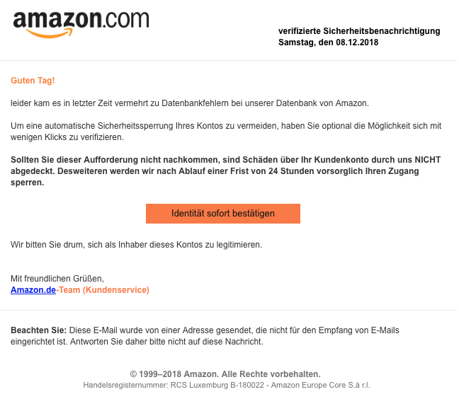 2018-12-09 Amazon Spam Mail Bestaetigung ihres Amazon-Kontos noetig