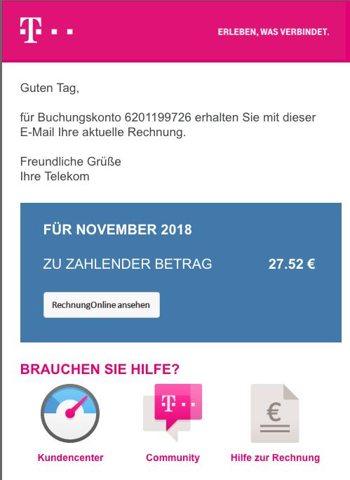 2018-12-10 Telekom Spam Mail Virus Ihre Telekom RechnungOnline November 2018