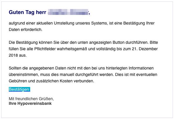 2018-12-13 Hypovereinsbank Spam-Mail Neue Mitteilung von Ihrer HypoVereinsbank