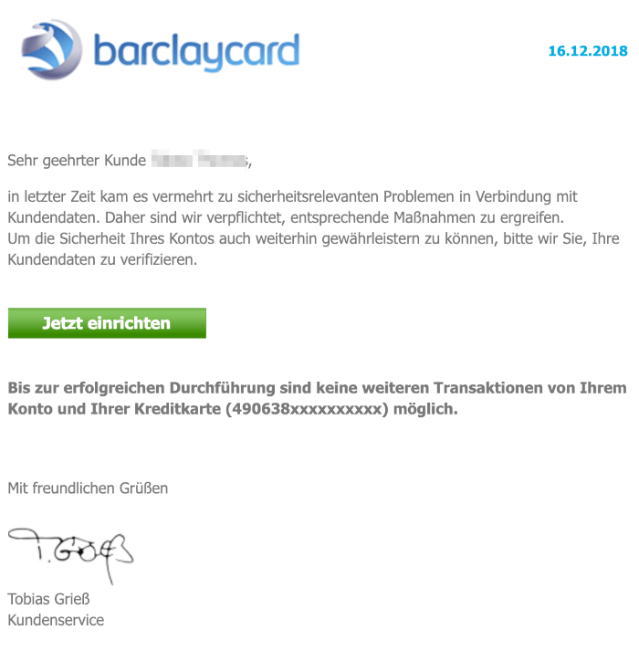 2018-12-16 Barclaycard Barclays- Ihr Konto wurde eingefroren