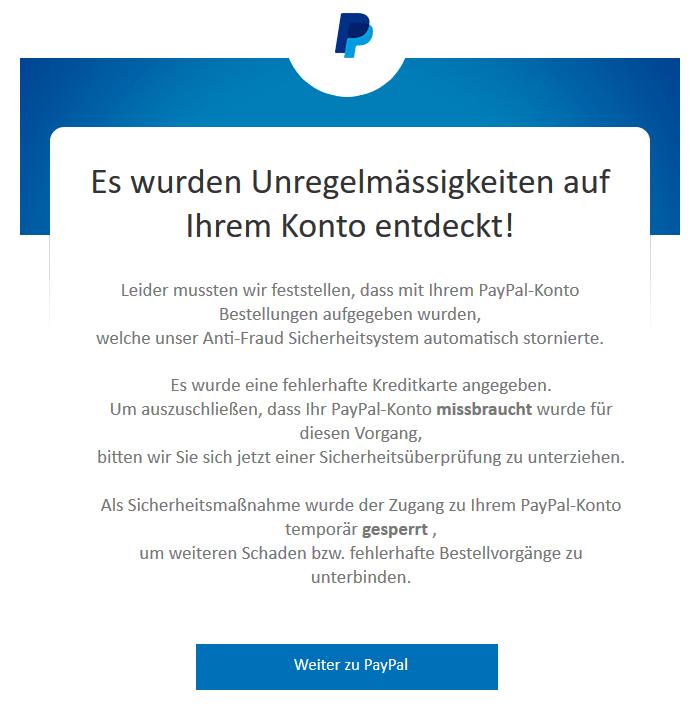 2018-12-16 PayPal Spam-Mail Wichtige Mitteilung von PayPal