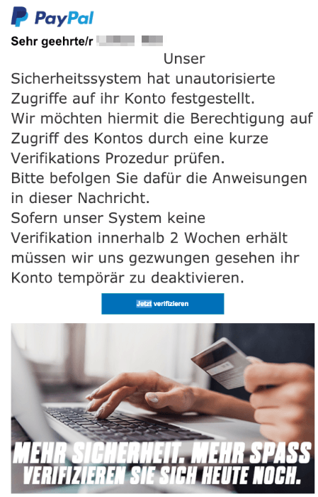 2018-12-17 PayPal Spam-Mail Sicherheitsueberpruefung