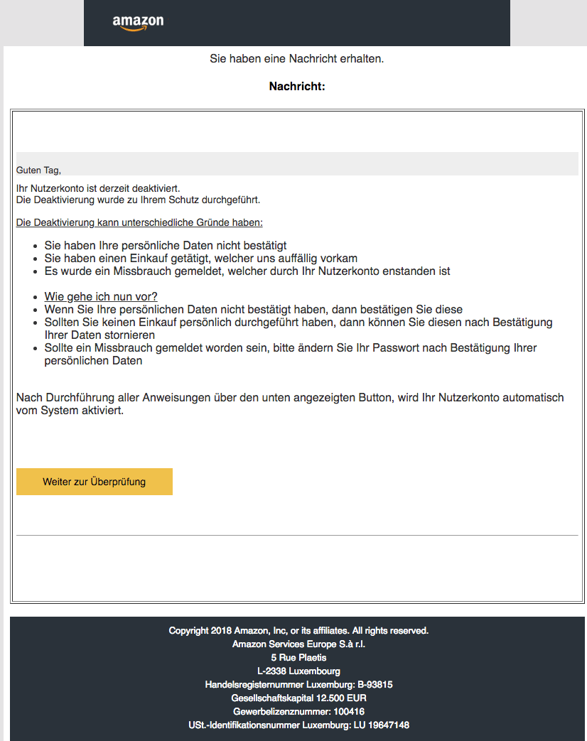 2018-12-19 Amazon Phishing