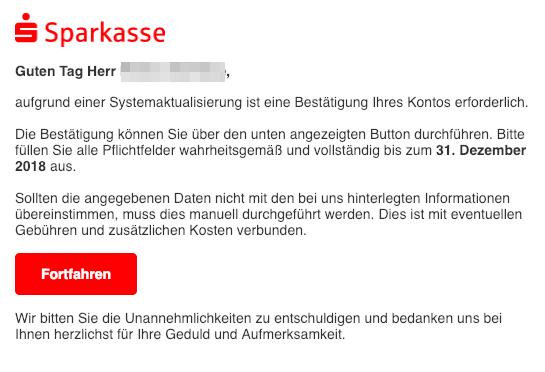 2018-12-19 Fake-Mail Sparkassen-Finanzgruppe Bestätigung Ihres Kontos