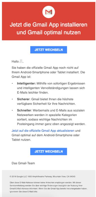 2018-12-21 E-Mail von Google Sie haben die offizielle Gmail App noch nicht installiert
