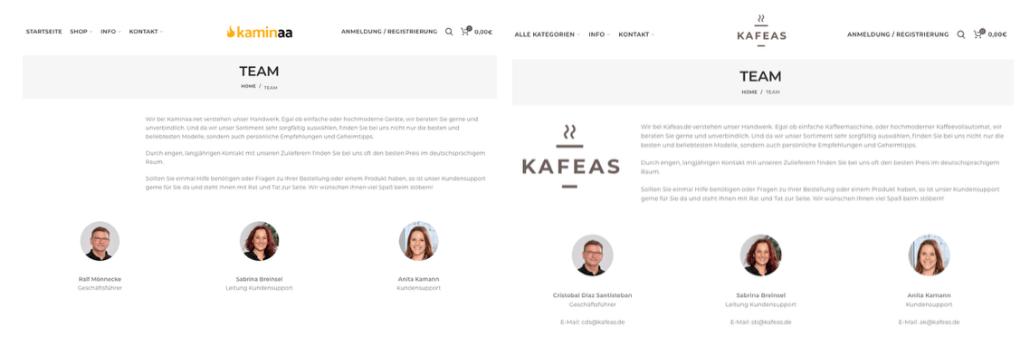 2018-12-21 Team Seiten kaminaa und kafeas im Vergleich
