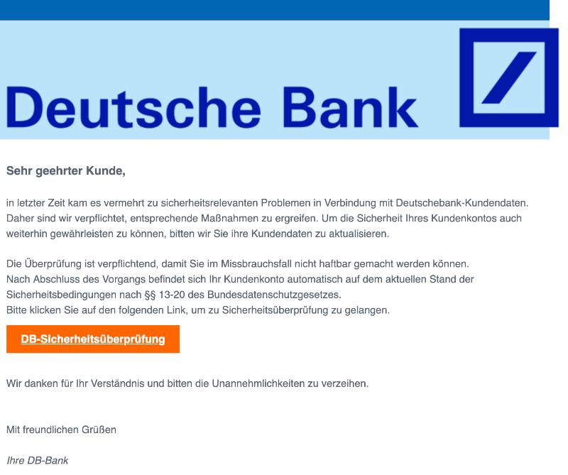 2018-12-22 Deutsche Bank Spam-Mail Benachrichtigung