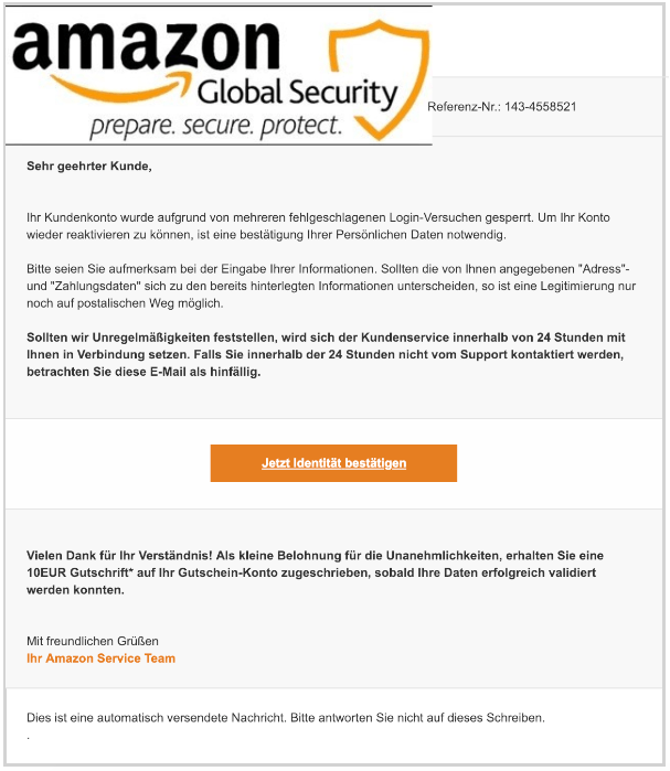 2018-12-23 Amazon Spam Mail Kundenmitteilung