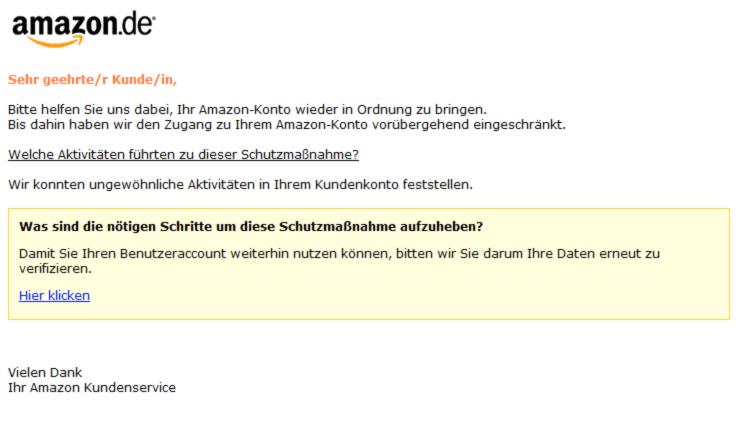 2018-12-27 Amazon Spam Ihr Kundenkonto ist gesperrt