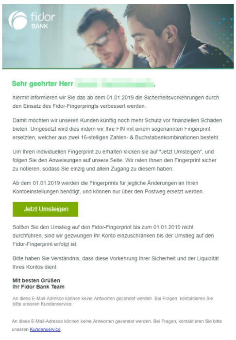 2018-12-28 Fidor Bank Spam Mails Neue Sicherheitsvorkehrungen