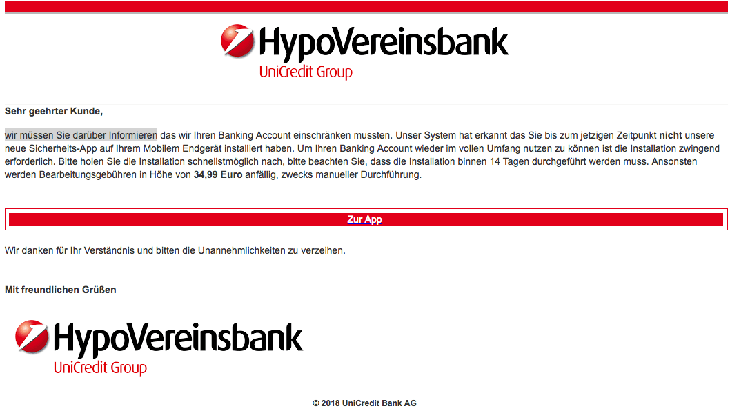2019-01-02 Hypovereinsbank Phishing