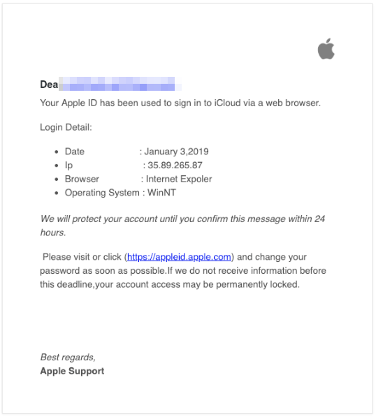 2019-01-04 Apple Fake Mail our account is temporarily locked