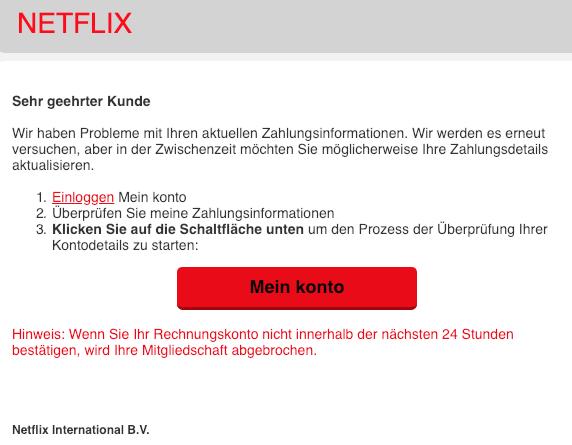 2019-01-10 Netflix Fake-Mail Aktualisieren Sie Ihre Kontoinformationen