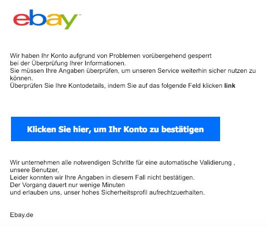 2019-01-11 ebay Spam-Mail Ihr account wurde gesperrt