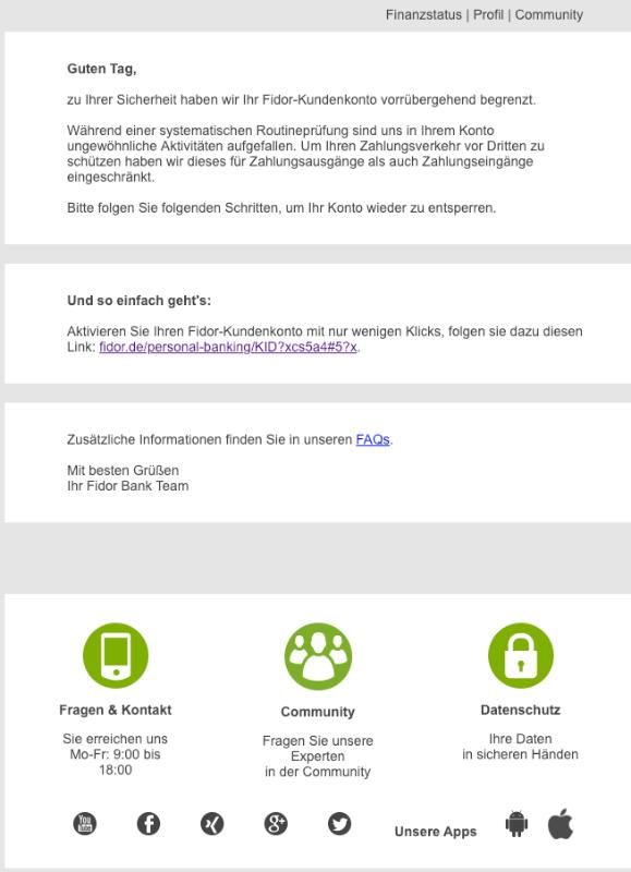 2019-01-15 Fidor-Bank Spam Phishing Mail Ihr Fidor-Kundenkonto wurde vorrübergehend begrenzt