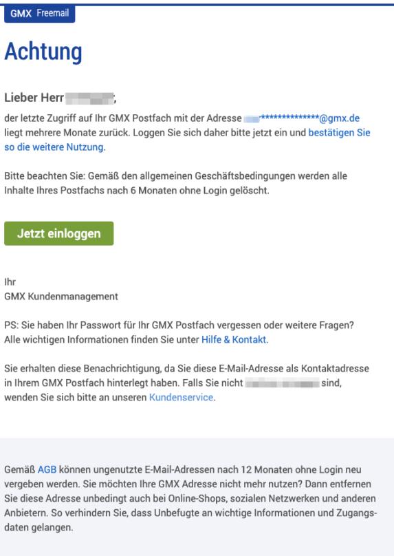 2019-05-23 E-Mail von GMX GMX Postfach-Inhalt wird in Kürze gelöscht