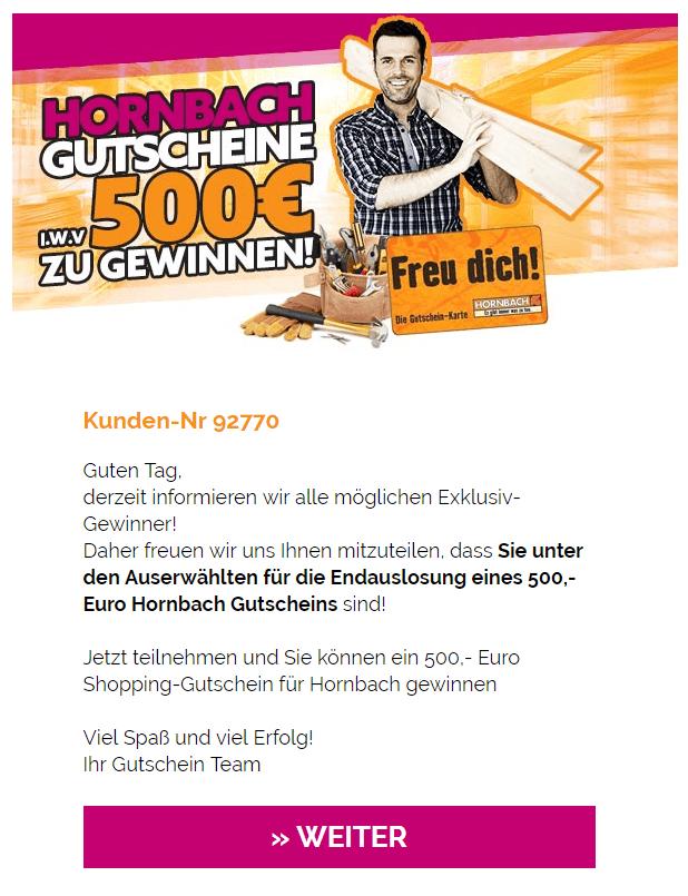 2019-06-06 E-Mail Fake Spam 500 Euro Gutschein Hornbach