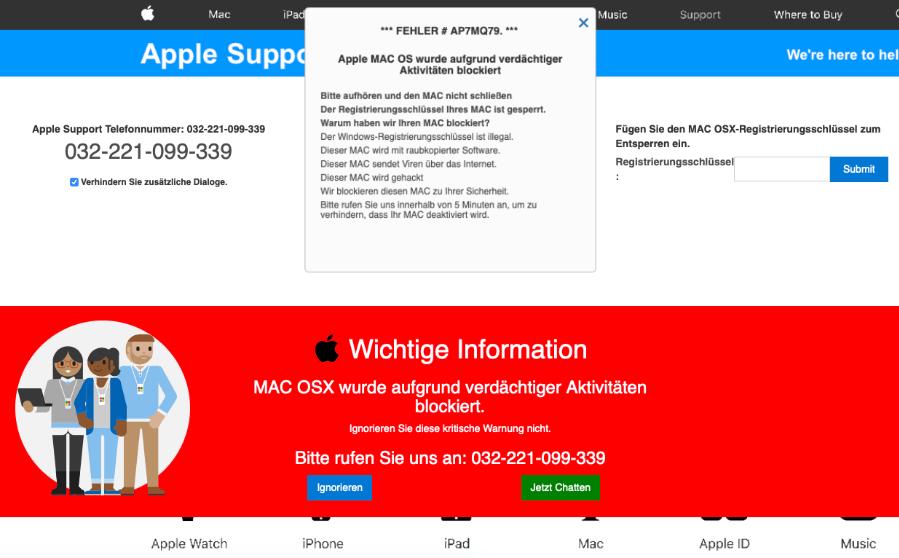 Apple Fake-Viruswarnung Mac OS X