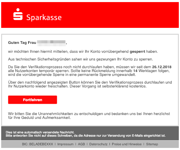 2019-01-04 Sparkasse Fake-Mail Kundeninformation