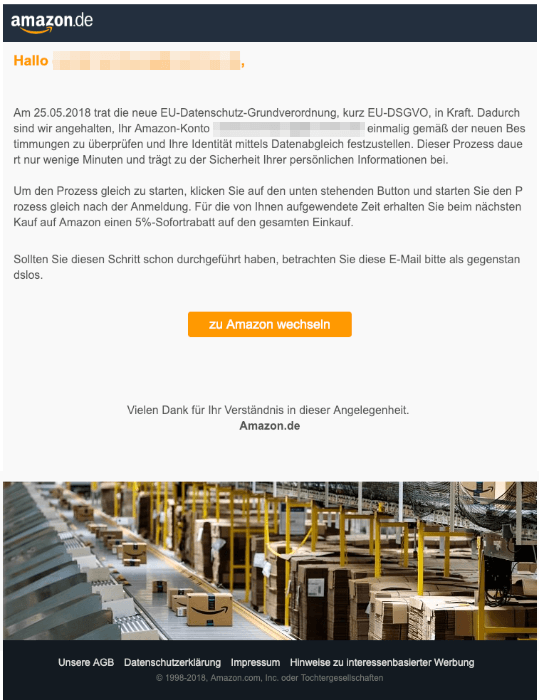 2019-01-07 Amazon Fake-Mail Aktualisierung ihres Nutzerkontos