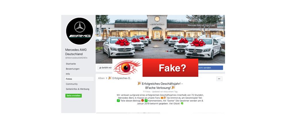 2019-01-07 Facebook-Seite verlost angeblich Mercedes A-Klasse