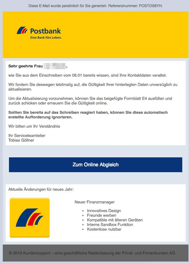 2019-01-07 Phishing Postbank