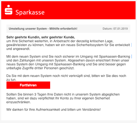 2019-01-07 Sparkasse Spam-Mail Dringende Mitteilung