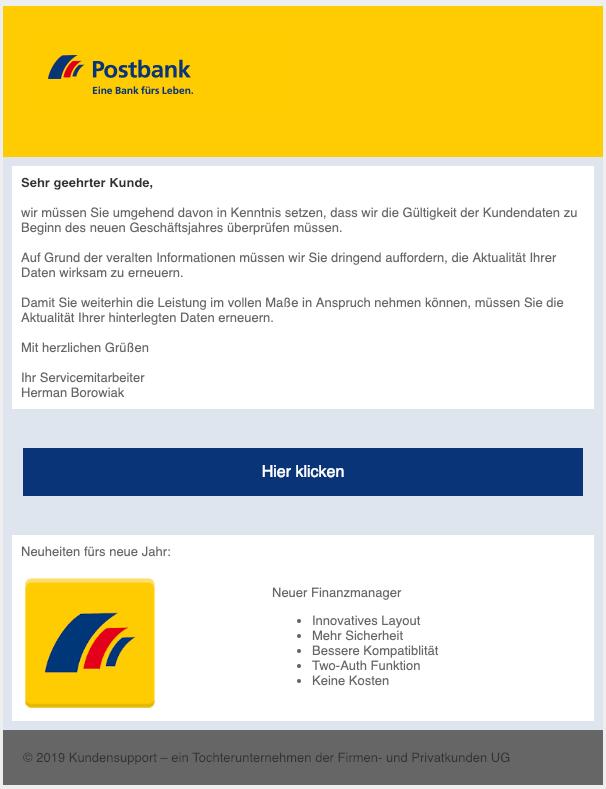 2019-01-09 Postbank Spam Phishing Mail Aktualisierung zum Jahreswechsel
