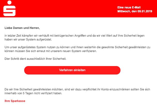2019-01-09 Sparkasse Phishing Mail Automatischer Kundenabgleich Update erforderlich