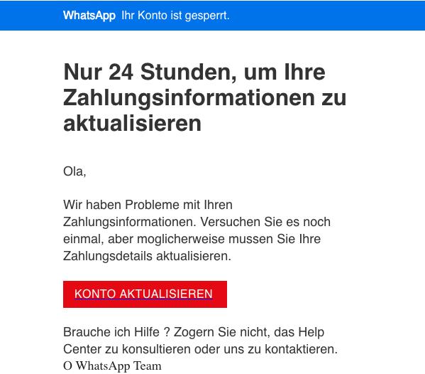 2019-01-10 WhatsApp Spam Mail Phishing Zahlungsinformationen aktualisieren