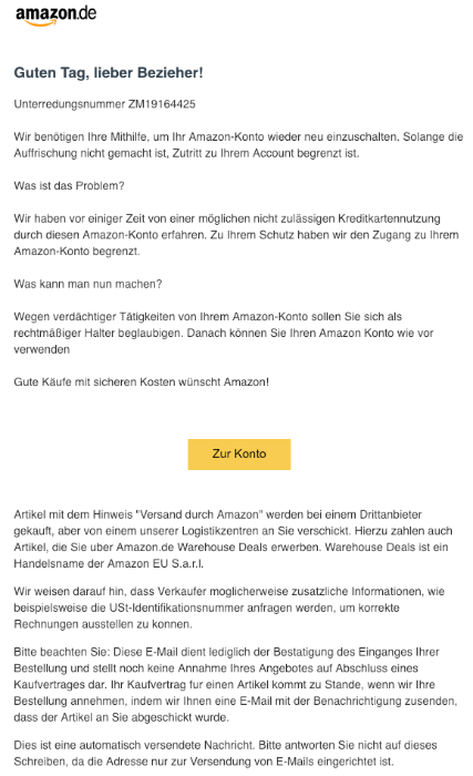 2019-01-11 Amazon Spam Mail Kreditkartennutzung