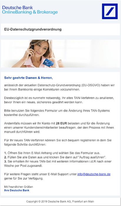 2019-01-11 Deutsche Bank Phishing Mail Informationen zu Ihrem Bankkonto