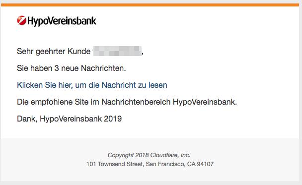 2019-01-11 Hypovereinsbank Spam-Mail Sie haben 3 neue Nachrichten