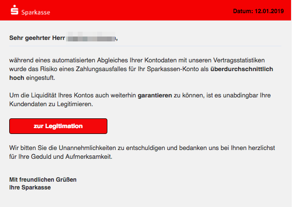 2019-01-13 Sparkasse Spam Mail Ihre Liquiditaet ist gefaehrdet
