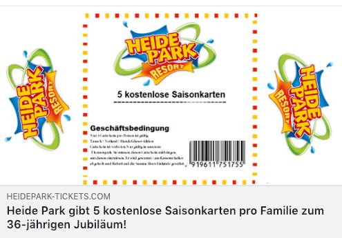 2019-01-14 Eintrittskarten Heide Park auf facebook sind Fake
