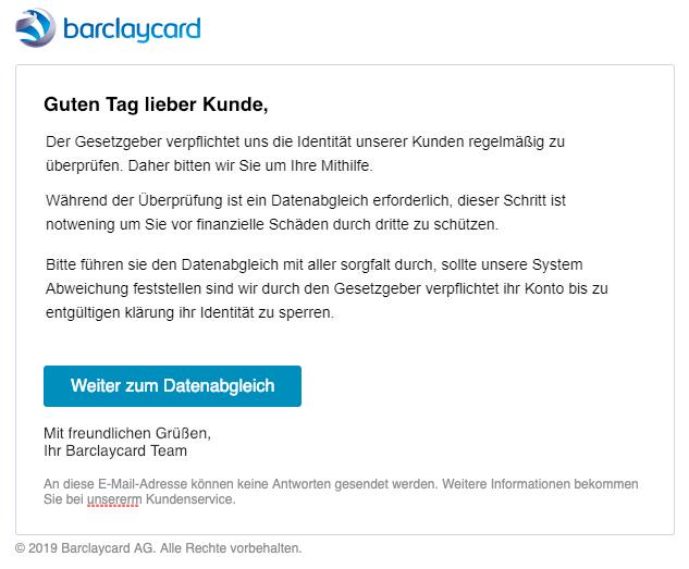 2019-01-15 Barclaycard Spam-Mail Phishing Ihre Karte braucht Hilfe