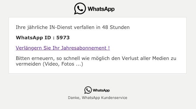 2019-01-15 WhatsApp Jahresabonnement verlängern Phishing Mail