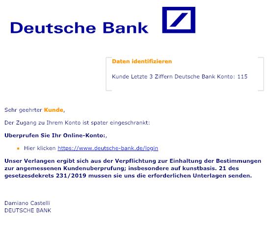 2019-01-17 Deutsche Bank Fake-Mail Der Zugang zu Ihrem Konto ist spater eingeschrankt