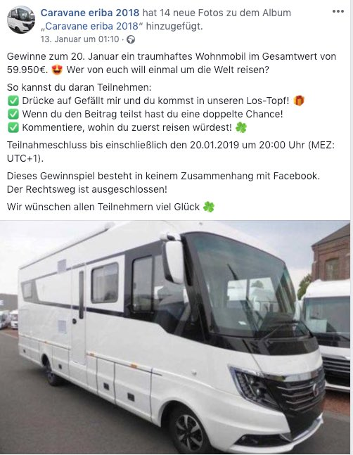 2019-01-17 Facebook Fake-Gewinnspiel Caravane eriba 2018 Wohnmobil
