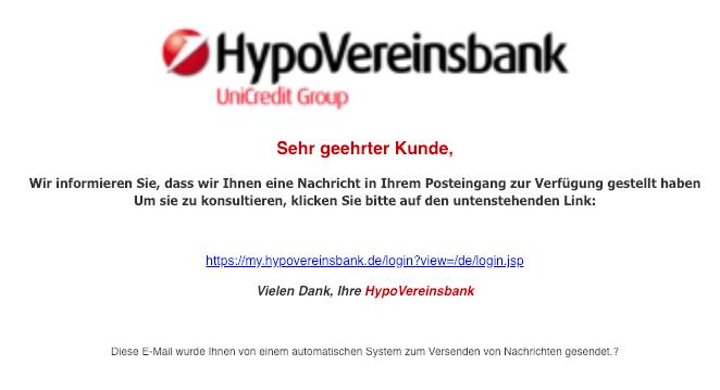 2019-01-17 HypoVereinsbank Spam Mail Sie haben eine Nachricht erhalten